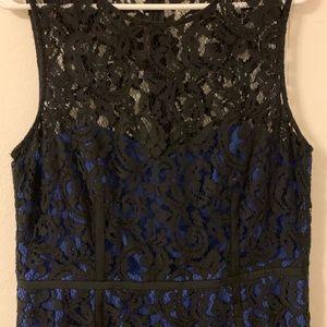 Vince Camuto Blue & Black Lace Dress Size 14